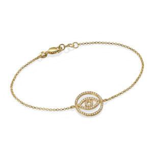 14k Yellow Gold Diamond Evil Eye Bracelet - Baltinester Jewelry