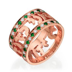 14k Rose Gold Emerald and Diamond Jewish Wedding Ring - Baltinester Jewelry