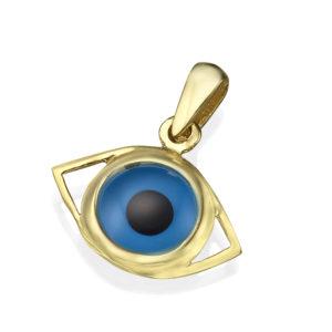 14k Gold Crystal Evil Eye Pendant - Baltinester Jewelry