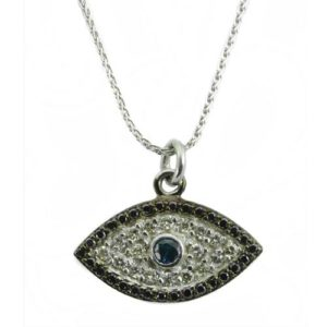 14k Gold Diamond & Sapphire Evil Eye Pendant With Chain - Baltinester Jewelry