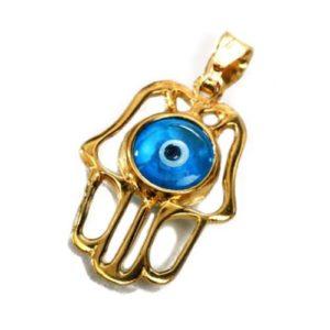 14k Gold Crystal Eye Hamsa Pendant - Baltinester Jewelry