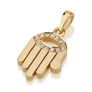 18k Gold Diamond Evil Eye Matte Hamsa Pendant - Baltinester Jewelry