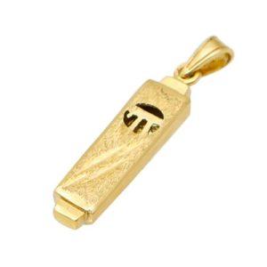14k Gold Mezuzah Chai Pendant - Baltinester Jewelry