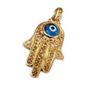 Hamsa Pendant 14k Gold Filigree Crystal Evil Eye - Baltinester Jewelry