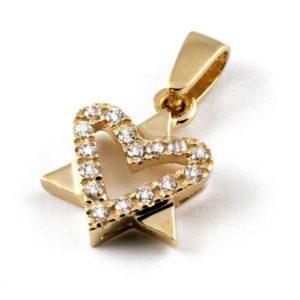 14k Gold CZ Heart Star of David Pendant - Baltinester Jewelry