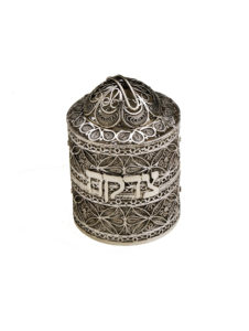 Mini Cylindrical Sterling Silver Tzedakah Box - Baltinester Jewelry