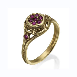 14k Gold Ruby Cluster Ring - Baltinester Jewelry